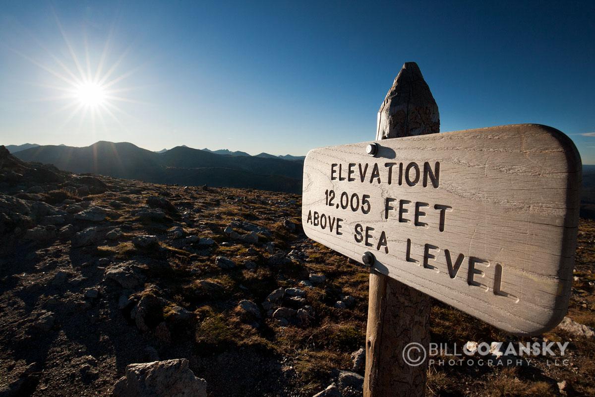 Elevation Sign - Rocky Mountain National Park, Colorado, USA