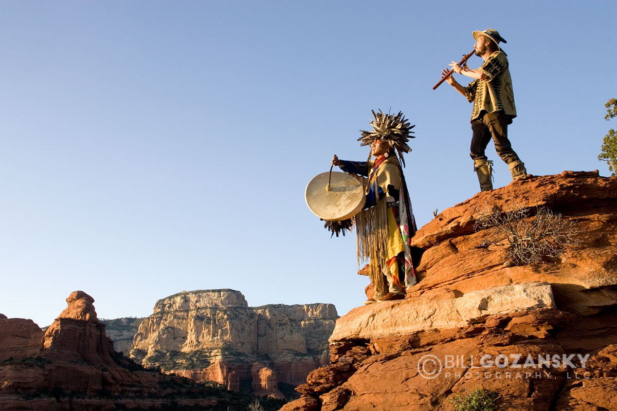 Havasupai Medicine Man with drum and Spiritual Healer with flute - Sedona, Arizona, USA