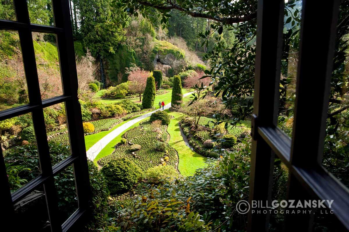 Sunken Garden At Butchart Gardens, Near Victoria, Vancouver Island, British Columbia, Canada