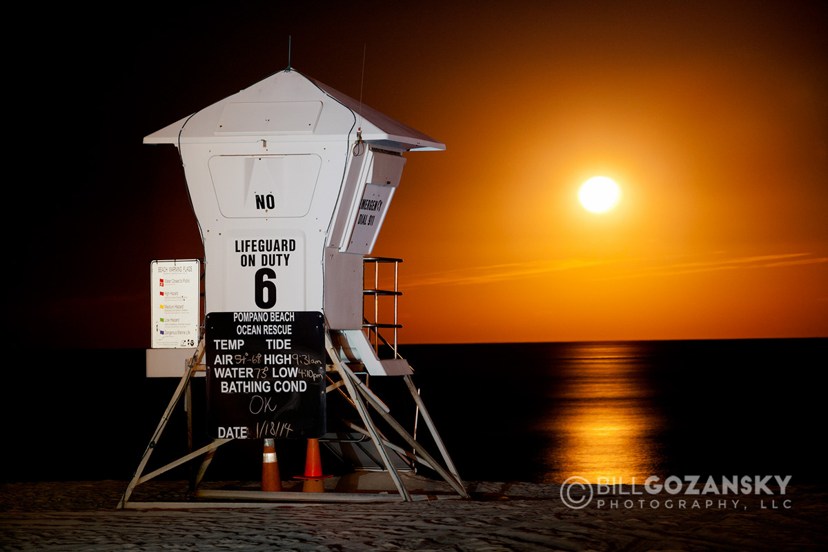 Lifeguard Tower in the Moonrise - Pompano Beach, Florida, USA